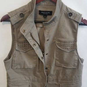 Max Jeans Studded Utility Military Vest Small